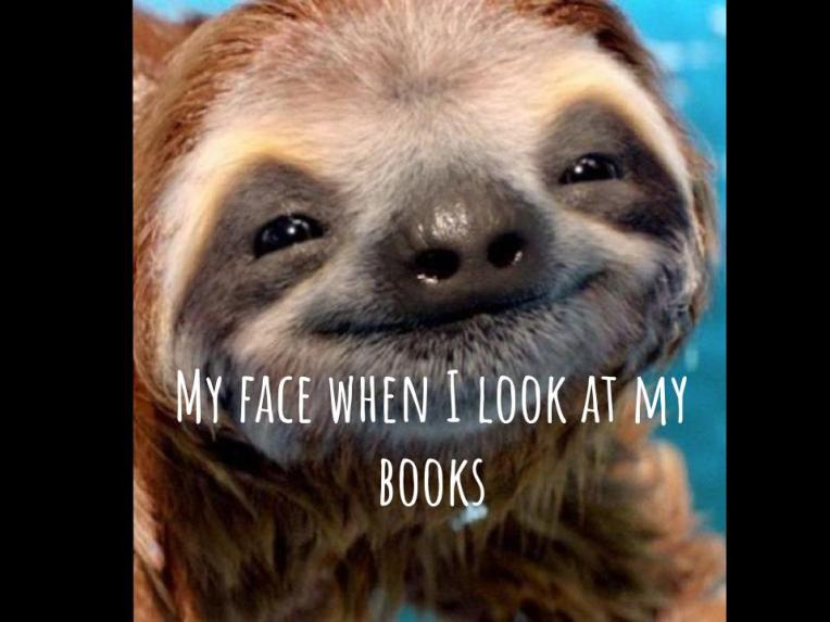 My face when I look at my books